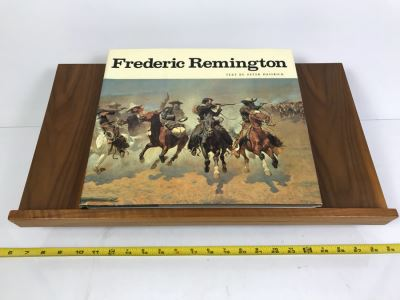 Wooden Book Display Stand With Vintage 1973 Frederic Remington Book By Peter H. Hassrick