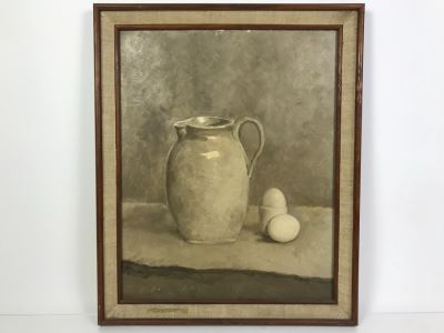 Original Still Life Oil Painting Of Pitcher And Eggs 18' X 22'
