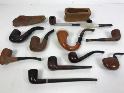 Collection Of Vintage Wooden Smoking Pipes Italian Pipes Oom Paul