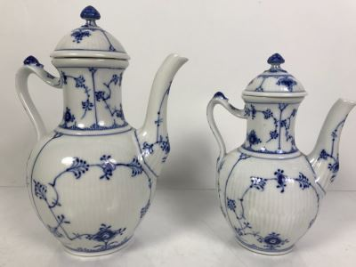 Royal Copenhagen Denmark Blue And White China Coffee Pot And Teapot