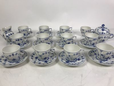 Royal Copenhagen Denmark Blue And White China Cups And Saucers With Creamer And Sugar Bowls Apx 12 Cups And 11 Saucers