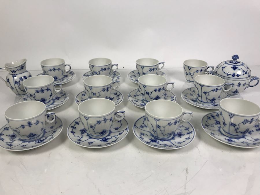 Royal Copenhagen Denmark Blue And White China Cups And Saucers With Creamer And Sugar Bowls Apx 12 Cups And 11 Saucers [Photo 1]