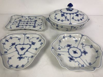 Royal Copenhagen Denmark Blue And White China Serving Platters And Casserole Dish With Lid