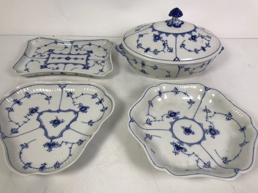 Royal Copenhagen Denmark Blue And White China Serving Platters And Casserole Dish With Lid [Photo 1]