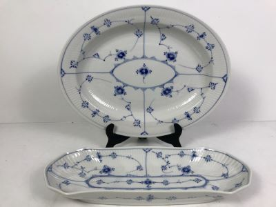 Pair Of Royal Copenhagen Denmark Blue And White China Serving Platters Apx 14.5'L