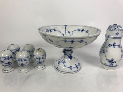 Royal Copenhagen Denmark Blue And White China Footed Bowl 8.5'Dia And Salt And Pepper Shakers