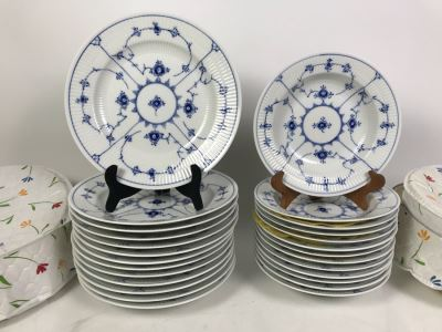 Set Of Royal Copenhagen Denmark Blue And White China Dishes 10' And 8.5' With Storage Containers Apx 25 Pieces