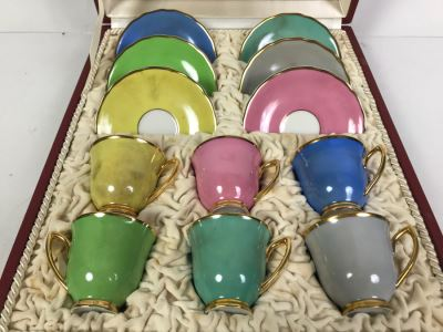 Set Of Czechoslovakian RGK Demitasse Cups And Saucers With Storage Case