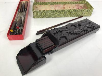 Asian Wooden Chopsticks In Wooden Storage Case And Vintage Fondue Forks