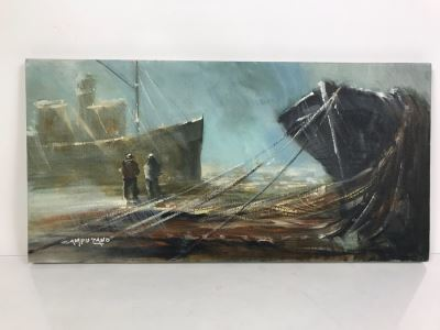 Original Nautical Oil Painting By Jose Campuzano (1918-1979) 24' X 12'