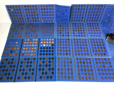 Coin Collection Lincoln Cents And Wheat Pennies With Coin Display Books