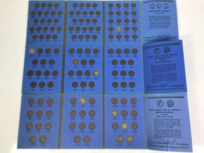 Coin Collection Buffalo Nickel, Barber, Liberty Head 'Morgan' Quarters With Coin Display Books