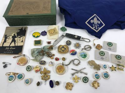 Collection Of Boy Scout And Girl Scout Accessories Including Pins, Keychains, Pocket Knife, Scarf, Booklet - See Photos