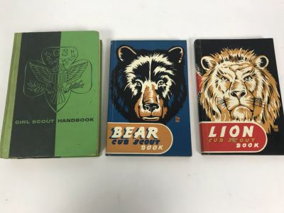 Vintage Girl Scout Handbook, Bear Cut Scout Book And Lion Cub Scout Book