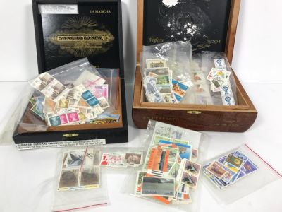 Various Foreign Stamps In Pair Of Cigar Boxes