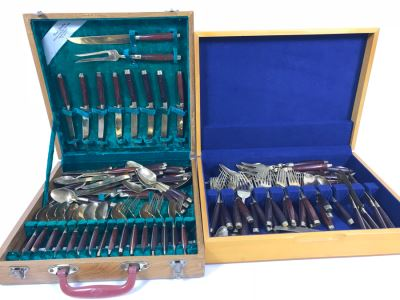 (2) Silverware Boxes Filled With Thailand Flatware Spoons, Forks, Knives Brass With Rosewood Handles
