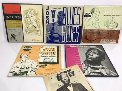 Collection Of (5) Vintage Blues Vinyl Records Featuring Leadbelly And Josh White
