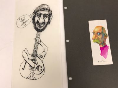 Pair Of Original Illustrations By Local Artist Bob Lee Featuring The Who's Pete Townshend