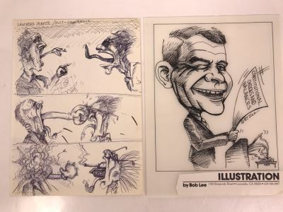 Pair Of Original Illustrations By Local Artist Bob Lee