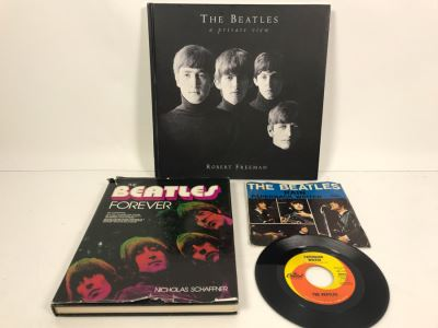 (2) Beatles Coffee Table Books: The Beatles A Private View Robert Freeman And The Beatles Forever Nicholas Schaffner And Capital Records 45 Paperback Writer And Rain Record