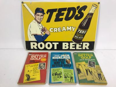 Reproduction Ted's Creamy Root Beer Baseball Motif Metal Sign And (3) Jack Nicklaus Paperback Golf Instruction Books
