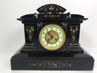 Vintage Marble Mantle Clock Porcelain Dial Movement Has Been Electrified 15'W  X 12'H X 6.5'D