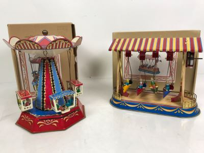 Pair Of German Tin Mechanical Wind-Up Toys 2005 Reproductions Of Antique Carousel And Antique Boat Swing By Wagner / Brunn In Boxes