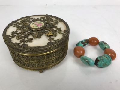 Vintage Trinket Box And Turquoise Bracelet