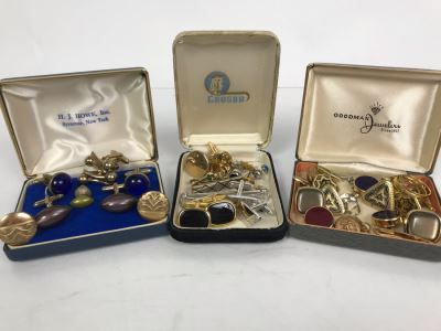 Collection Of Men's Cufflinks And Tie Pins