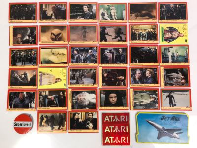 Vintage 1984 DUNE Movie Trading Cards, Vintage ATARI Stickers, Superlover Button And Vintage Jet Age Sewing Needle Book