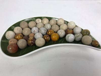 Vintage Clay And Glass Marbles - Come With Glass Jar And Foley Bone China Olive Branch Dish - See Photos For Individual Marble Pics