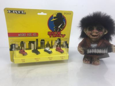ERTL Micro Size Dick Tracy Set Of Cars New Old Stock And Nyform Original Troll Doll With Tags From Norway