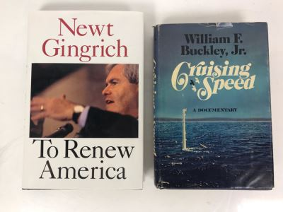 (2) SIGNED Political Books: William F. Buckley, Jr. Cruising Speed And Newt Gingrich To Renew America