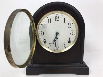 Antique Seth Thomas Wooden Mantle Mechanical Clock With Key Working Smooth Movement