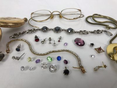 Jewelry Lot With Pocket Watch Case, Vintage Glasses, Bracelets, Necklace And Various Earrings And Loose Gems (Glass, Plastic, Stones)