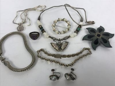 Sterling Silver Jewelry Lot With Bracelets, Brooches, Necklaces, Pearl Earrings And Ring 53.8g