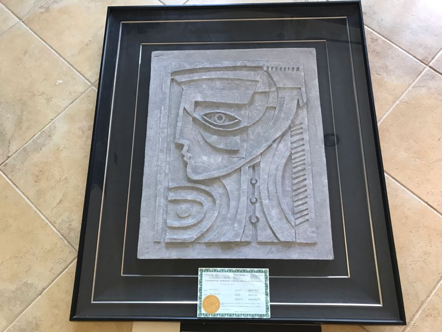 Actor Anthony Quinn Signed 'Lady From Crete' Modernist Vellum Sculpture In Beautiful Custom Shadowbox Frame Limited Edition A.Q. 10 Of 10 With Certificate Of Authenticity 45' X 39' Framed Very Heavy Estimate $3,200 [Photo 1]