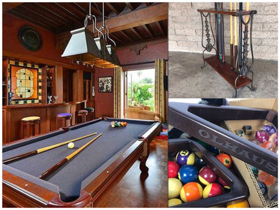 OLHAUSEN Billiards Solid Wood 7' Pool Table With Italian Slate From Historic Mission Hills Home With Olhausen Pool Cue Rack, (6) Pool Cues And (2) Sets Of Pool Balls - See Photos [Photo 1]