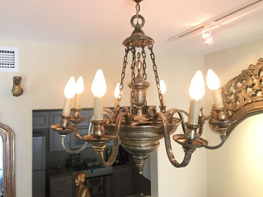 Elegant Vintage 8-Light Silverplate Light Fixture [Photo 1]