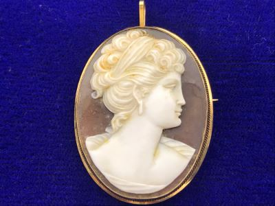 STUNNING 18K Gold And Carved Shell Cameo Pendant Brooch Estimate 5.7g $300