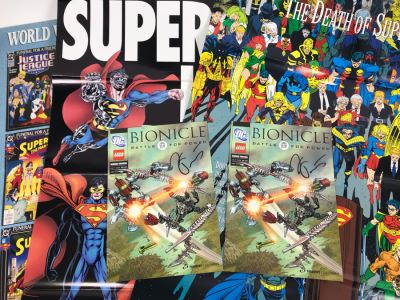 Pair Of Signed Bionicle DC Lego Comic Books And (4) Superman Posters