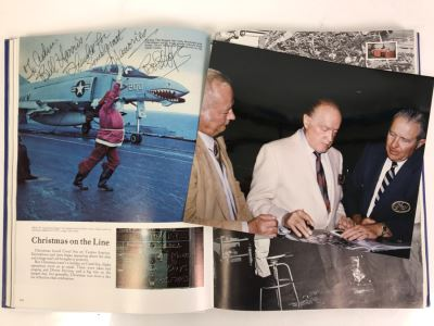 Bob Hope SIGNED Volume Of USS Coral Sea (CVA-43) The Coral Scene 1971-1972 Cruise Book Pacific Deployment And Photograph Of Bob Hope With William 'Bill' H. Harris, RADM, USN (Ret.)
