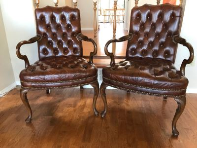 Pair Of Vintage Tufted Elegant Leather Armchairs With Brass Nailhead Trim