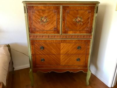 Stunning Vintage Chest Of Drawers Dresser With Painted Floral Design Purchased In Hollywood CA