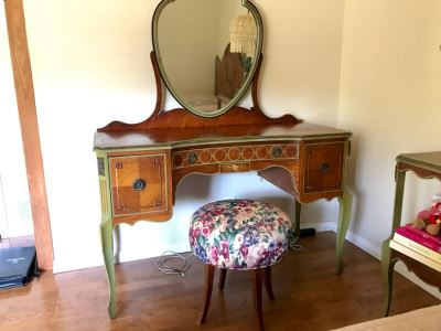 Stunning Vintage Vanity Desk With Mirror And Stool Purchased In Hollywood CA