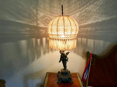 Vintage Metal Cherub Table Lamp With Stunning Crochet Shade