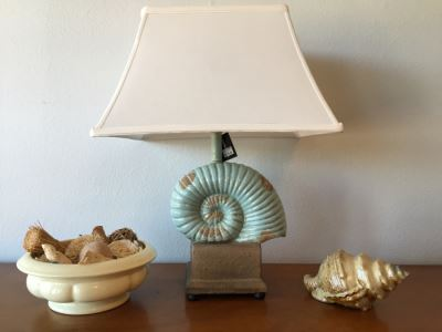 Shell Table Lamp (Retailed For $160), Haeger USA Pottery Bowl Filled With Various Decor Objects And Faux Decorative Shell