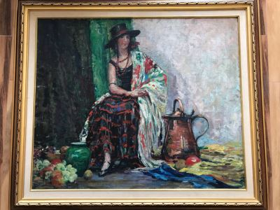 Original Portrait Still Life Oil Painting On Board By Listed Artist Florence White Williams (1888-1953) From Van Pelt Art Galleries 43' X 37'