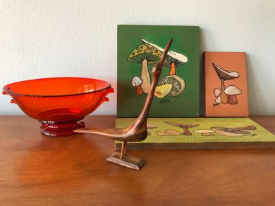 Vintage Red Glass Bowl, Carved Wooden Bird And (3) Original Vintage Mushroom Paintings On Board By Berg