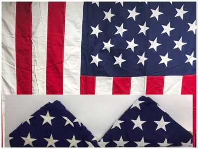 Pair Of Large 100% Cotton American Flags Made By Valley Forge Flag Co 110' X 55'